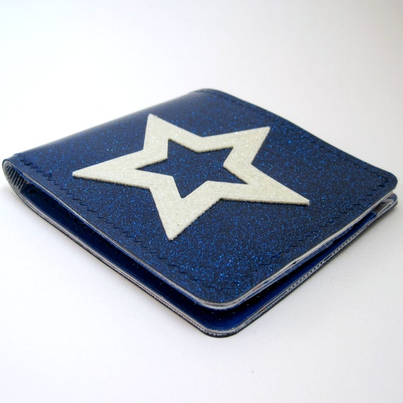 Vinyl Wallet, Billfold with Superstar Design, royal blue and white silver sparkle vinyl / blue plaid, solid silver, and solid blue oilcloth