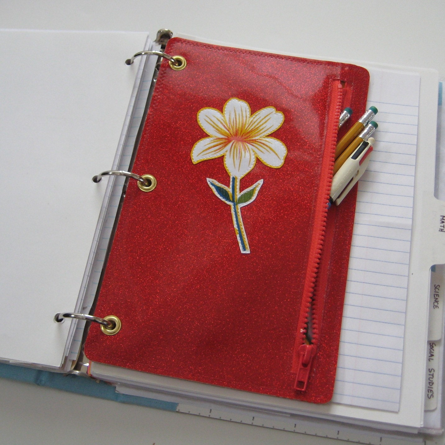 Vinyl Pencil Pouch For Three Ring Binder With Appliqued Flower