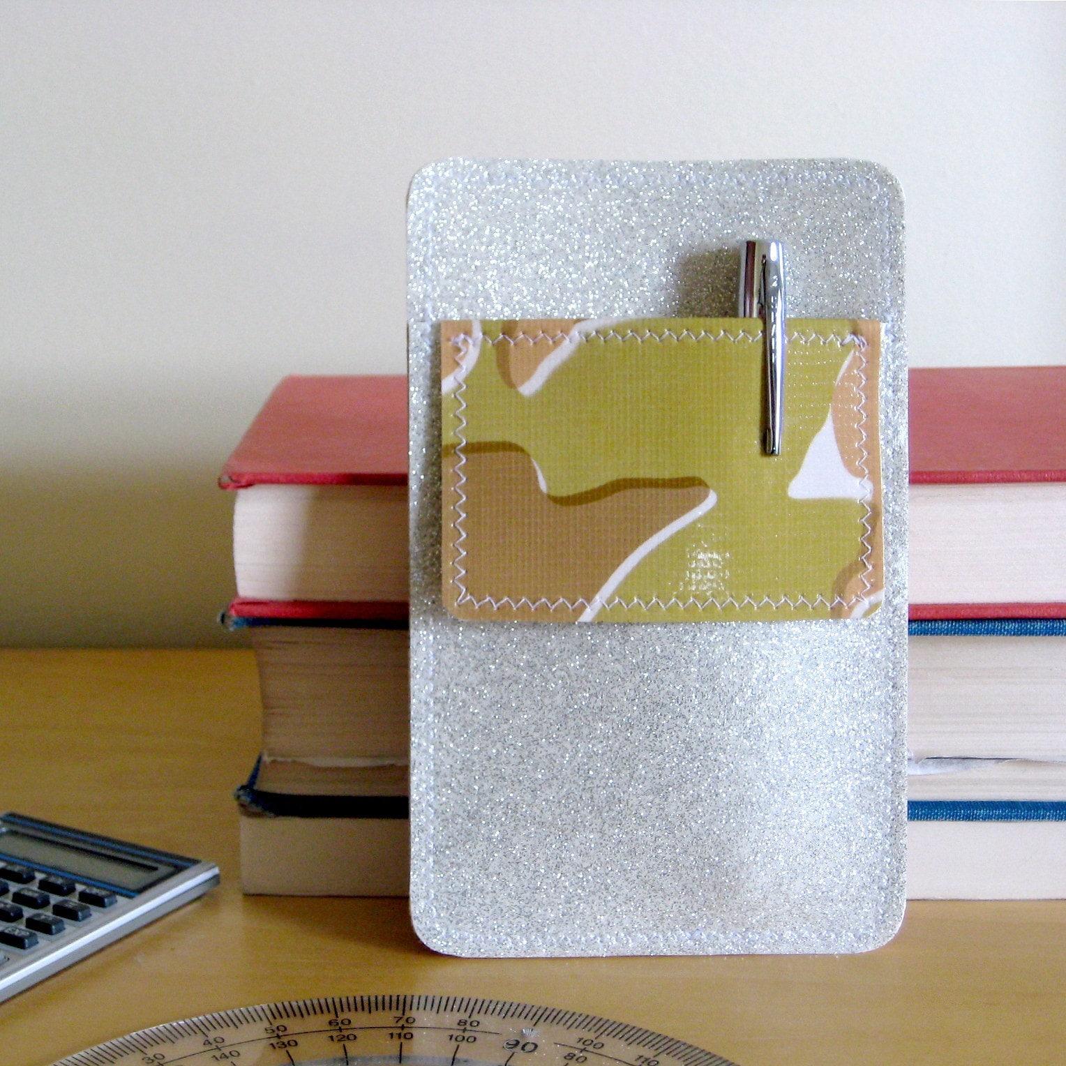 Nerd Power Pocket Protector In White Silver Sparkle Vinyl