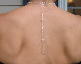 Backdrop Necklace Swarovski Pearls and Crystals Bridal Lariat, Love of Mine Back Drop