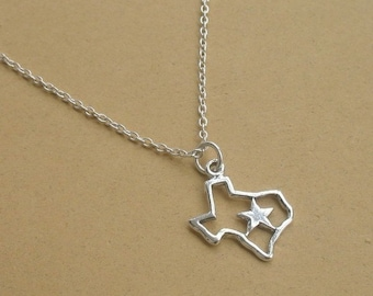 Texas Necklace, Gifts for her, State Outline, Texas Outline, Lone Star State, Sterling Silver, Don't Mess With Texas
