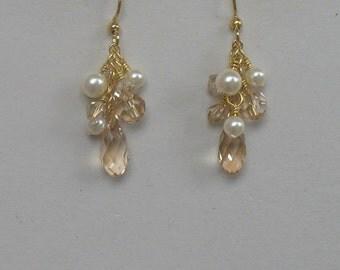 Gold Crystal Earrings Teardrop Bridal or Bridesmaids, Honey Drop Dangles