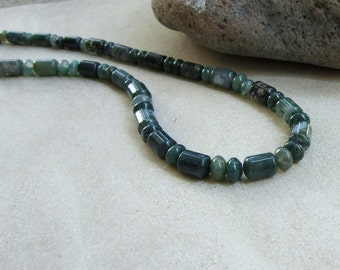 Mens Green Necklace in Moss Agate Gemstones