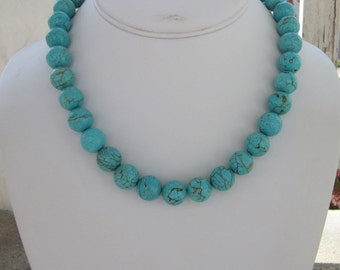Turquoise Necklace, Turquoise Jewelry, Large Bead Turquoise Necklace, Blue Neckalce, Blue Jewelry, Chunky Turquoise Necklace, Blue Dawn