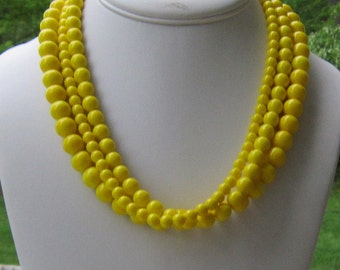 Chunky Yellow Necklace, Bright Yellow Jewelry, Gifts for Her, Yellow Statement Jewelry, Lemon Yellow Multistrand Necklace, Just Ducky