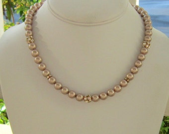 Champagne Pearl Necklace in Gold, Pearl Fireball Bridesmaids, Tracie
