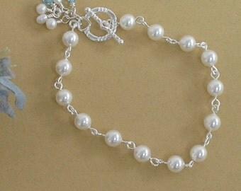 Pearl Bridal Bracelet, Bridal Jewelry, Gift For Bridesmaids, Something Blue Brides, Wedding Jewelry, Pearl Jewelry, Flower Girl Bracelet