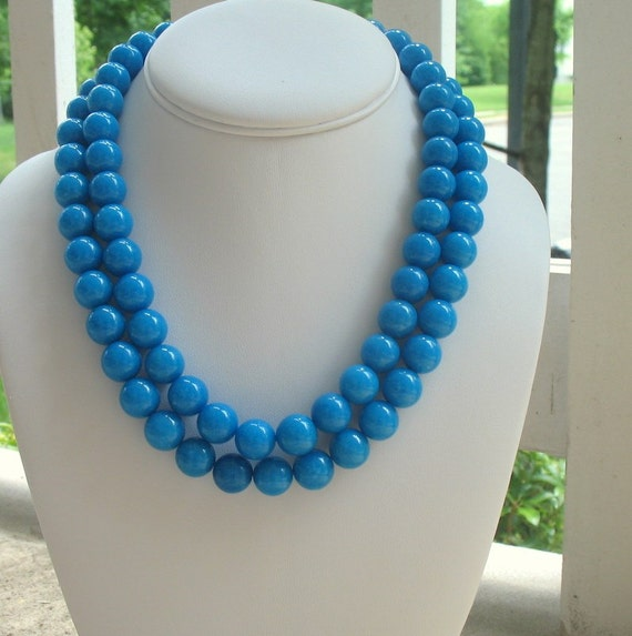Chunky Turquoise Necklace Blue Large Bead Double Strand Statement, Double the Fun