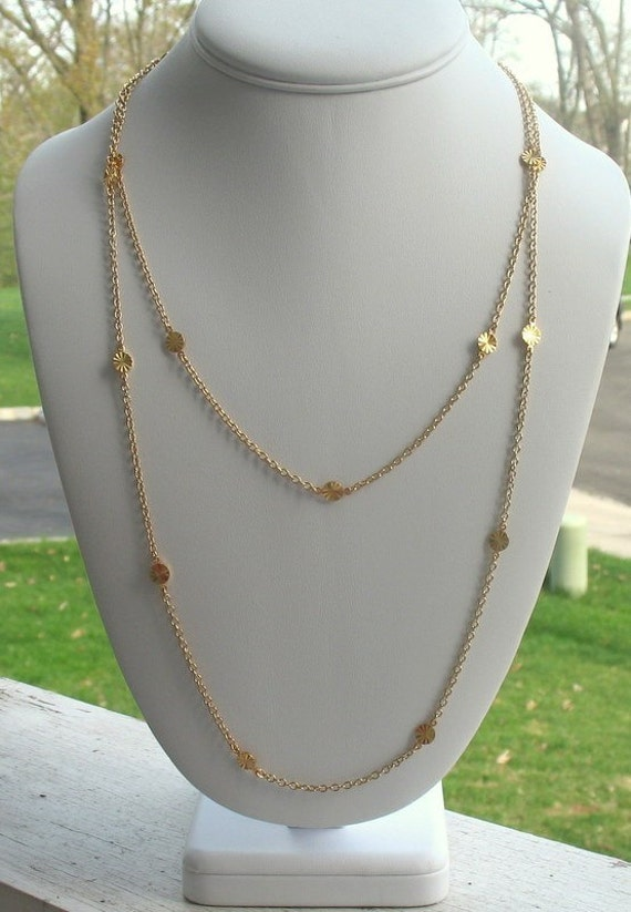 Cougar Town Necklace, Gold Long Disc Courtney Cox from Cougar Town TV Show