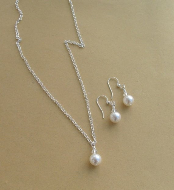 Pearl Necklace Set, Single Pearl, Bridesmaids gifts, Bridesmaids Jewelry, Flower Girl Jewelry, Mother of the bride jewelry,Simply Stated