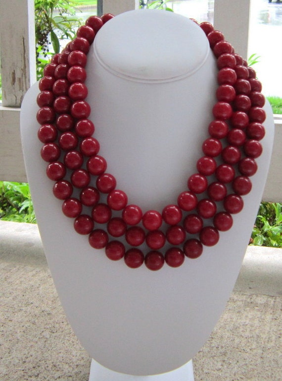 Chunky Red Necklace 3 Strand Statement, Im Reddy