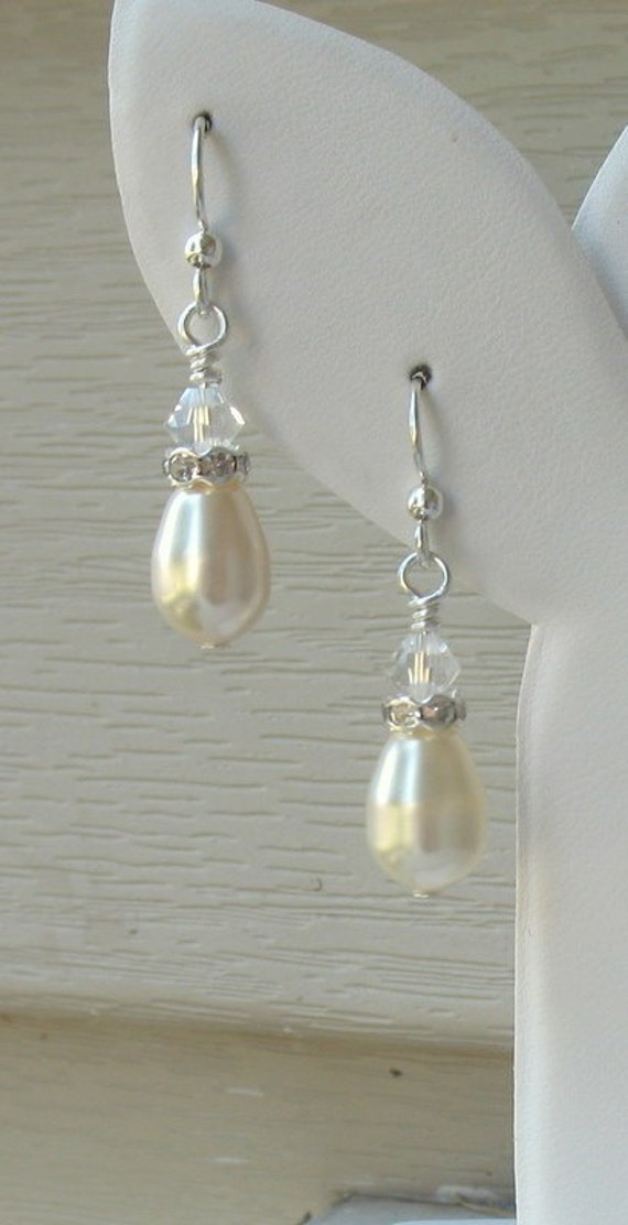 Pearl Bridal Earrings Tear Drop Pearl Rhinestone and Crystal, Dainty Tears of Joy