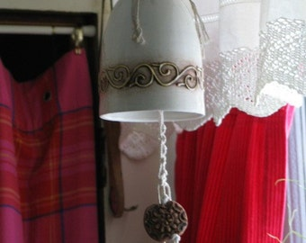 Hippie Pottery and Macrame Bell Shaped Chimes Signed Unique OOAK