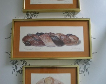Vintage Set of Bread Prints of Original Watercolors Signed Mounted Framed Alambe