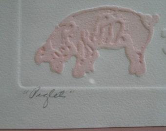 Piglets Paper Art Print Signed OOAK Unique Matted Framed