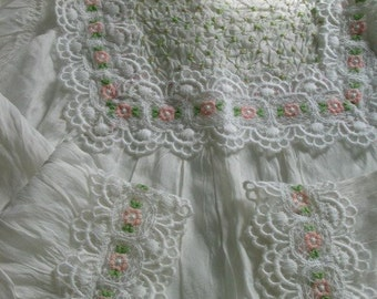 Vintage Smocked Christening Gown Lovely Detailing Very Sweet Pink Flowers