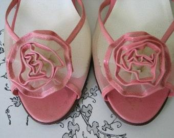 Pink Petal Flower Graces Peep Toe Jack Rogers Vintage 1960s Shoes