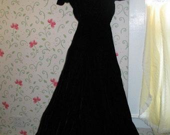 Black Velvet Evening Gown Dress 1938 With Hoop Skirt Slip Pink Flowers In Original Box Vintage