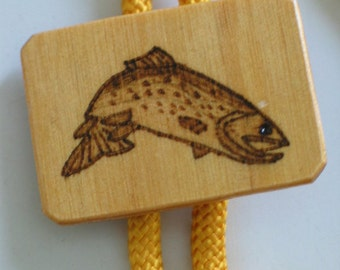 Trout Fish Lariat Bright Yellow Tie Woodburned 1970s