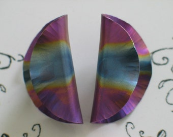 Purple Teal Pink Blue Pierced Earrings Gorgeous Coloring Very Light