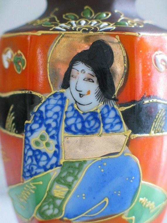 Oriental Hand-Painted Mini Vase From Japan Wonderful Face