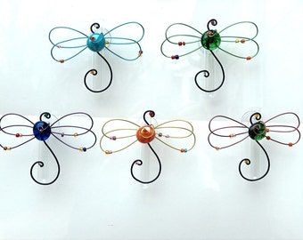 Colorful Dragonfly Suction Window  Hanging Glass Flower Vase Bud Vase Suction