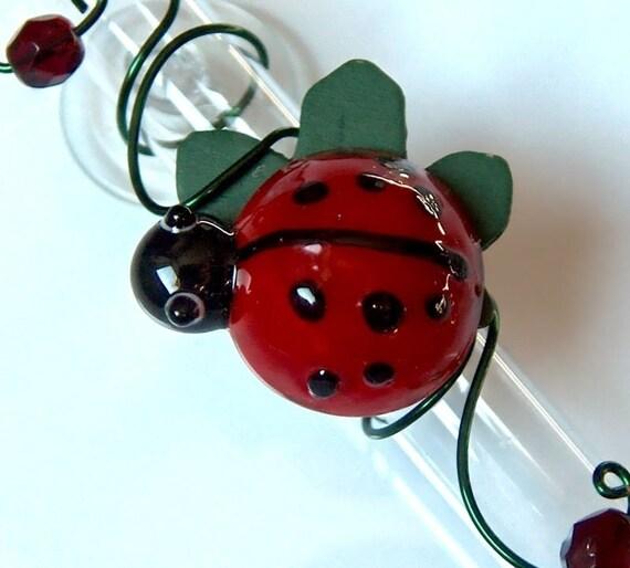 Glass Ladybug Suction Window Bud Vase Rooting Vase