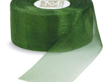 """Midori Organdy Ribbon 3/4"""" Color Garden Green"""