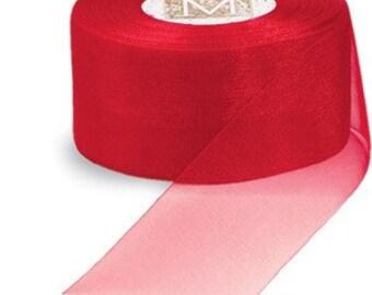 3/4 inch wide piece OF Midori Organdy Ribbon color red