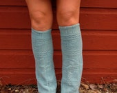 Light Blue Flower Textured Flared Sweater Leg Warmers By MountainGirlClothing