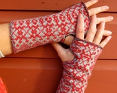 Red and Gray Fair Isle Knit Recycled Sweater Artist Fingerless Gloves By MountainGirlClothing
