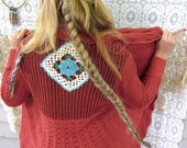 Dusty Pink Crochet Boho Gypsy and Knit Long Cascade Upcycled Wrap Sweater With Belt by Mountain Girl Clothing