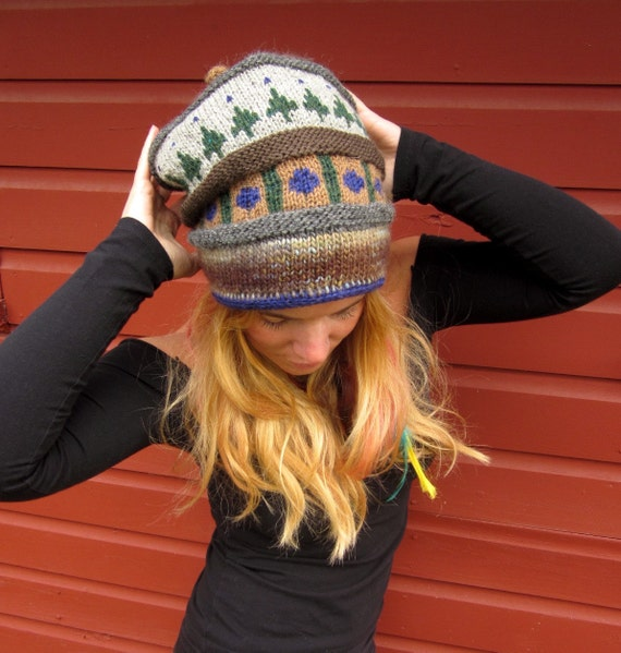 Earthy Pine Tree Princess Fleece Lined Fair Isle Layers Hand Knit Hat By MountainGirlClothing