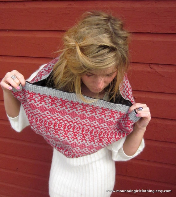 Red and Gray Fair Isle Eco Friendly Sweater Neck Warmer/Shawl/Hood/Cowl Scarf by MountainGirlClothing