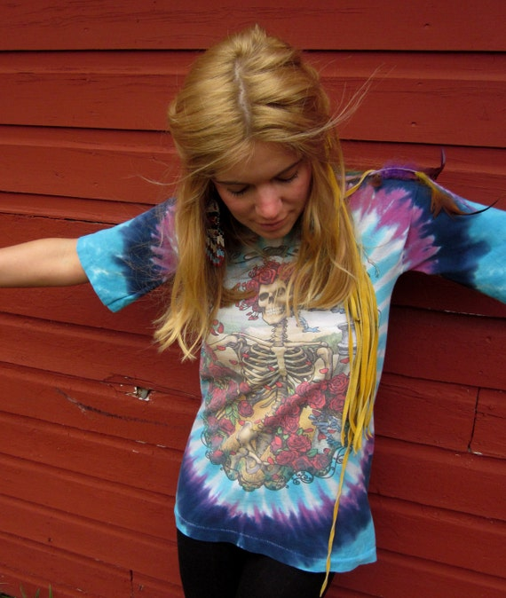 Reconstructed Grateful Dead Tie Dye Skeleton Roses Bell Sleeve Tshirt tunic Size Small by MountainGirlClothing