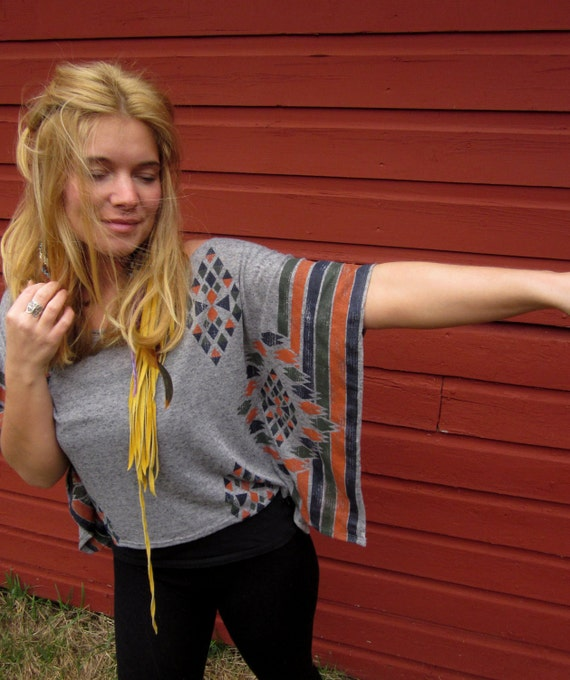 Off The Shoulder Slouchy Native Tribal Print Kimono Crop Top with Crochet Cut Out Back by MountainGirlClothing