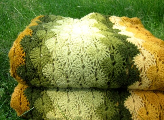Vintage Green Yellow Orange 70s Long Striped Retro Picnic Time Yarn Crochet Handmade Blanket Wrap