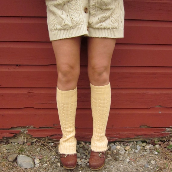 Morning Yellow Cable Knit Sweater Leg Warmers By MountainGirlClothing