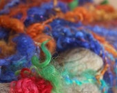 Handspun Flower Yarn Mohair and Bells and Tassels The Traveling Gypsy Sisters