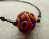 SALE Orange and Electric Blue Big Hole Hollow Bead Necklace HALF OFF