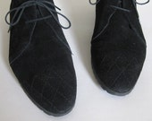 vintage 1980s black suede booties size 10