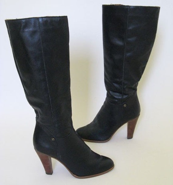 SALE vintage GORGEOUS black leather SUPER high heeled boots size 9