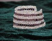 Beadweaving Bracelet Metal-free - Royal Lace - herringbone, seed beads, clear, purple, hypoallergenic