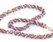 Beadwoven Necklace, Metal-free - Cezar's Rope - purple, pearly, golden, hypoallergenic, spiral