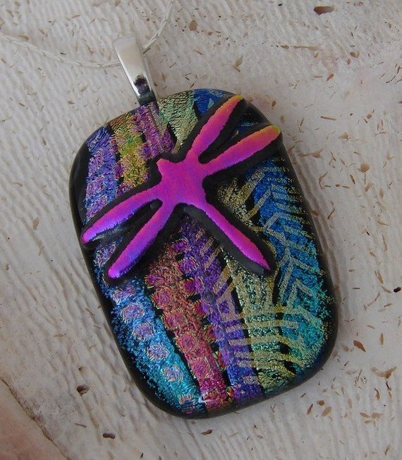SALE ON NOW CHECK MY SHOP FOR DETAILS, Dichroic Glass Pendant, includes silver necklace