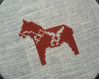 Dala horse modern cross stitch