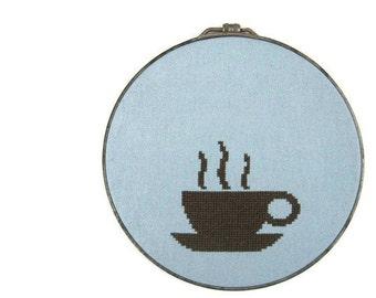 Coffee modern cross stitch pattern