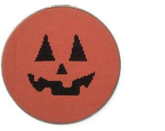 Jack-o-lantern modern cross stitch pattern