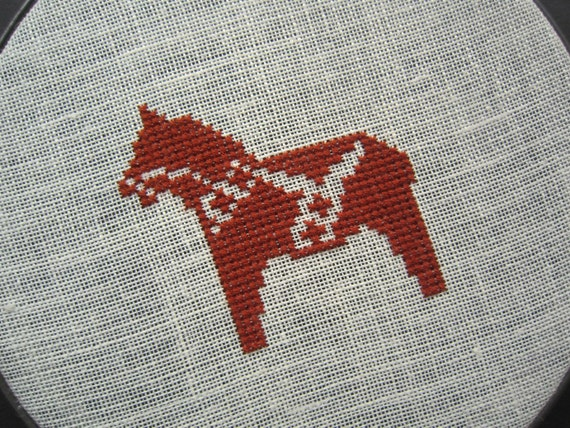 Dala horse modern cross stitch
