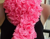 Hot Pink ruffled scarf
